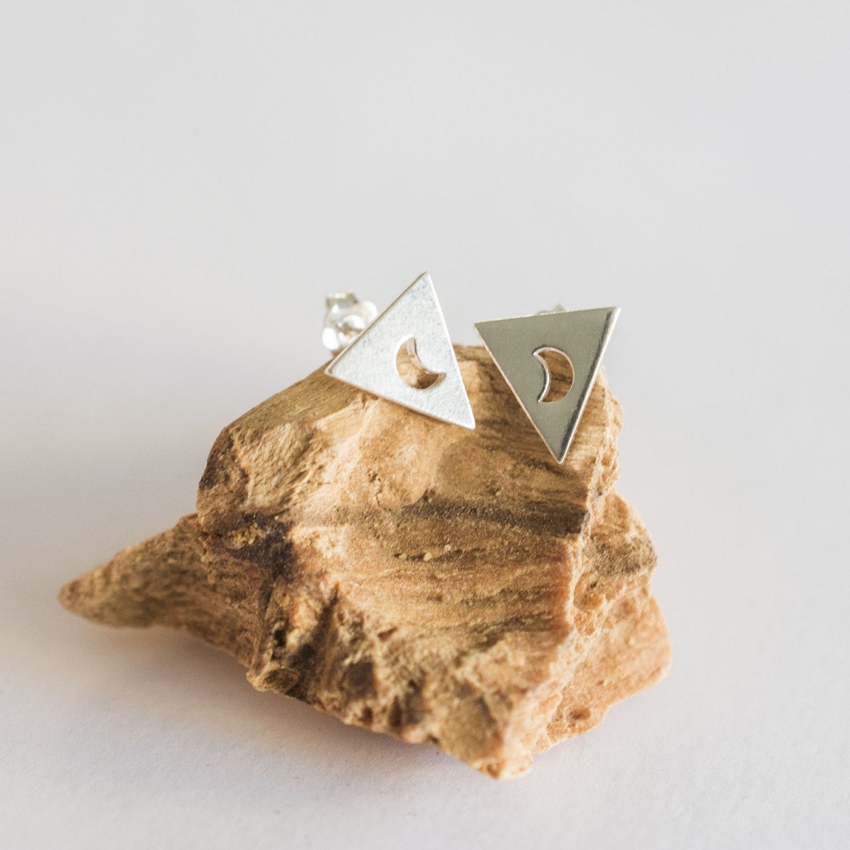 Triangle with Moon Earring